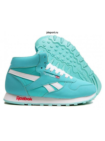 Reebok Classic Leather High With Fur (Turquoise/Sunny White)