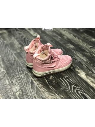 Женские Nike Lunar Force 1 розовые с мехом
