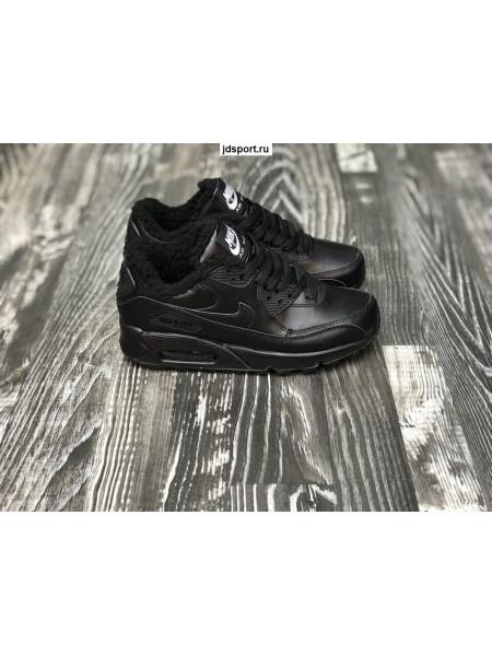 Зимние Nike Air Max 90 Winter (Black) с Мехом